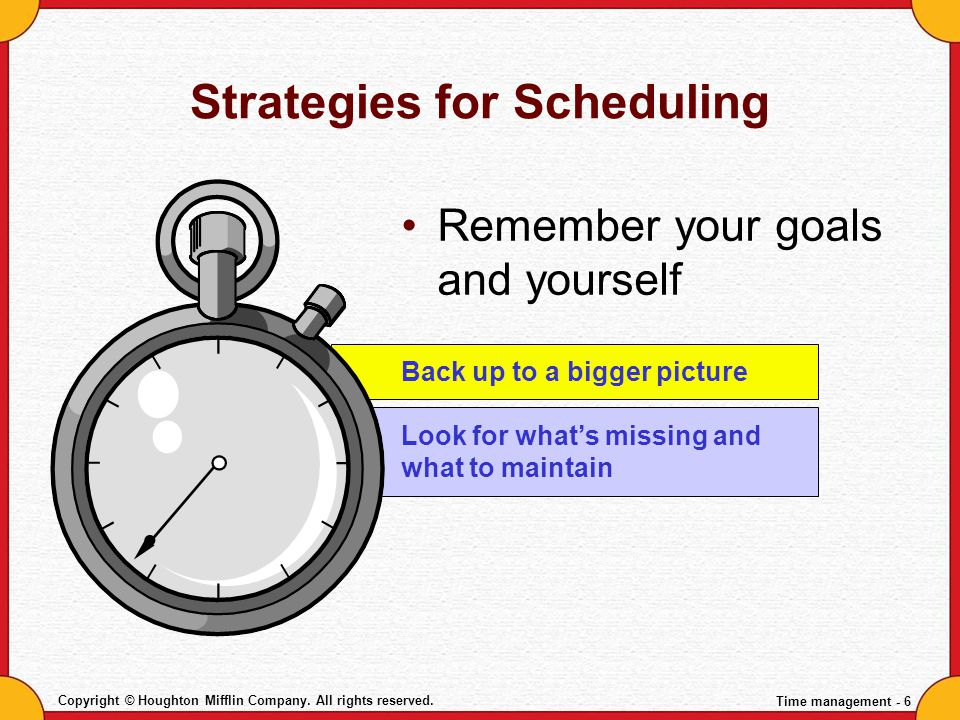 Strategies for Scheduling