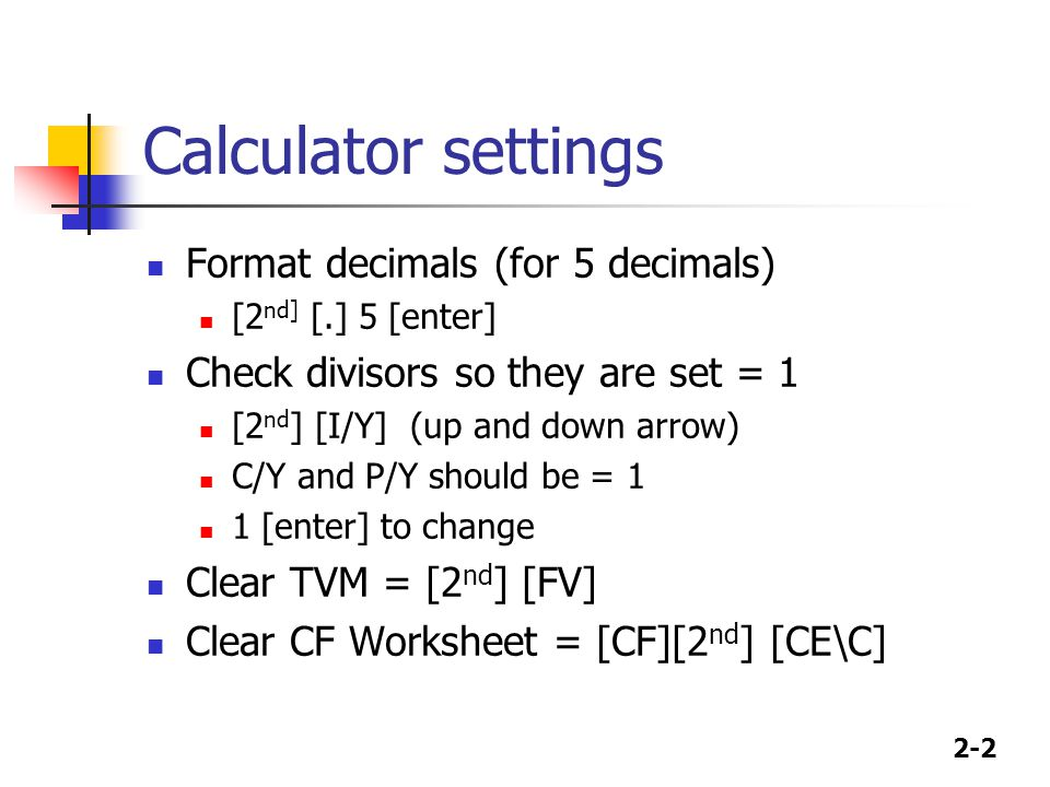 Calculator settings Format decimals (for 5 decimals)