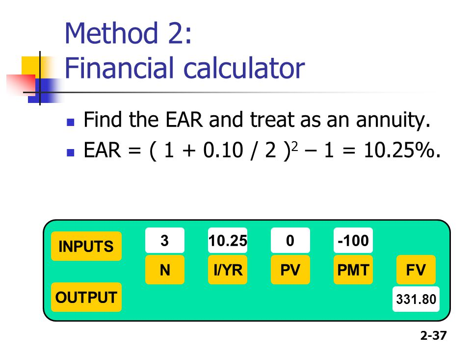 Method 2: Financial calculator