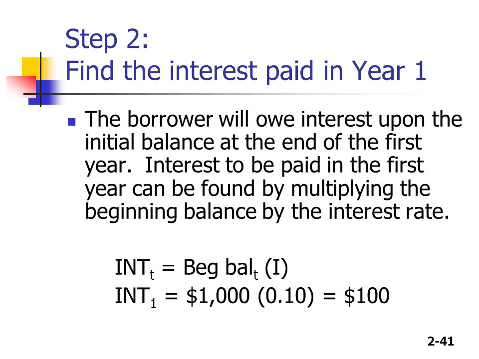 Step 2: Find the interest paid in Year 1