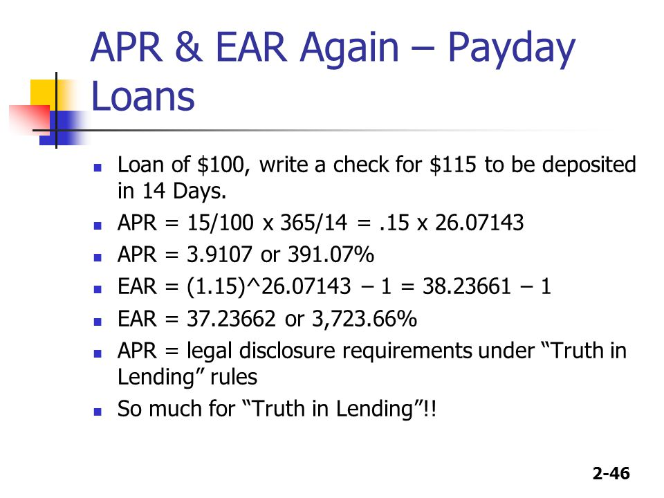 APR & EAR Again – Payday Loans