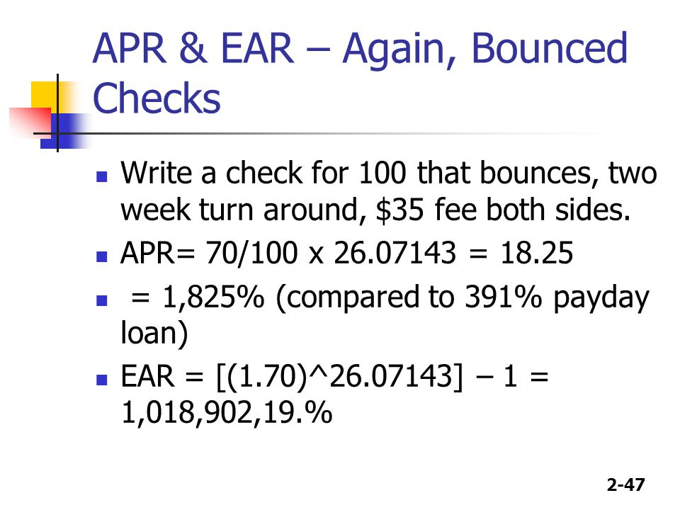 APR & EAR – Again, Bounced Checks