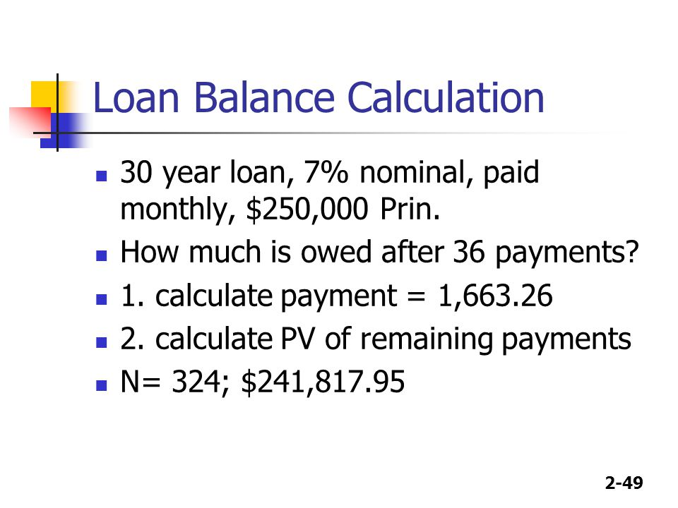 Loan Balance Calculation