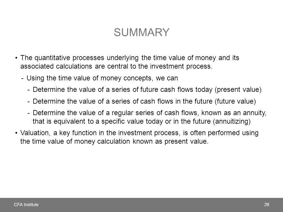 summary The quantitative processes underlying the time value of money and its associated calculations are central to the investment process.