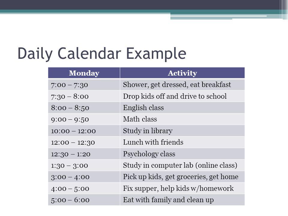 Daily Calendar Example