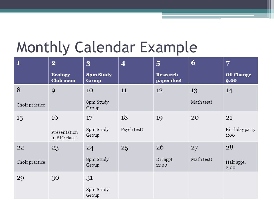 Monthly Calendar Example