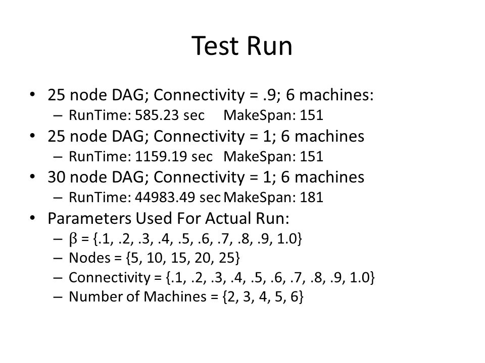 Test Run 25 node DAG; Connectivity = .9; 6 machines: