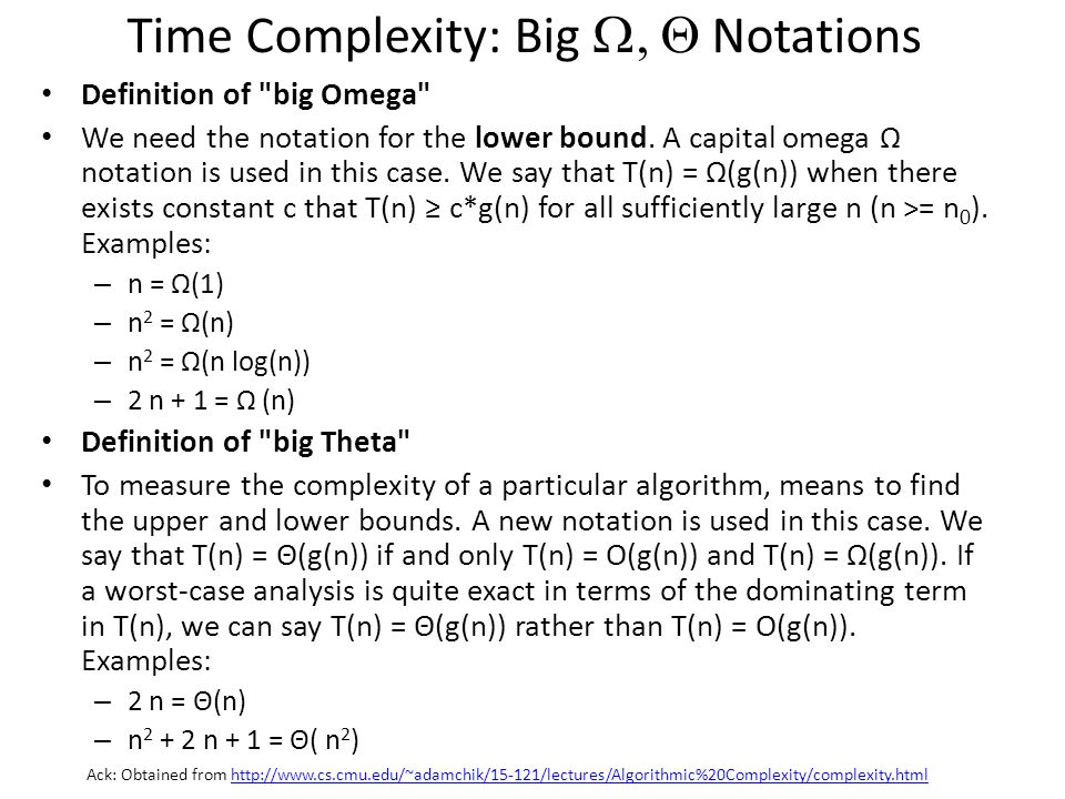 Time Complexity: Big W, Q Notations