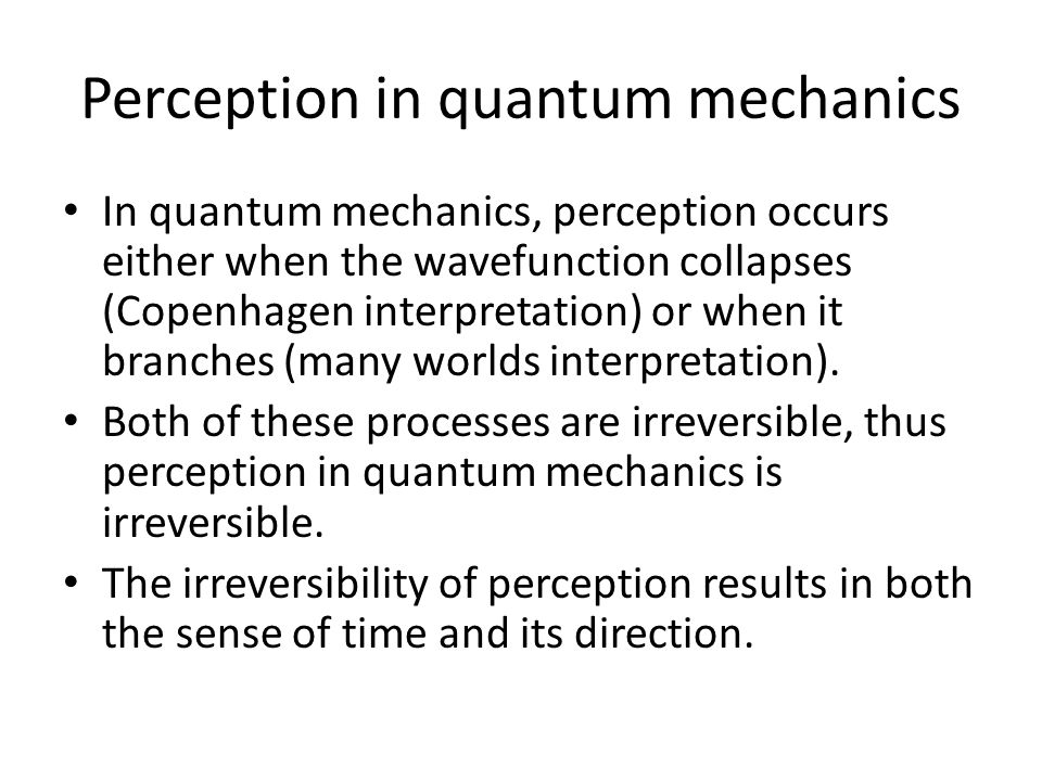 Perception in quantum mechanics