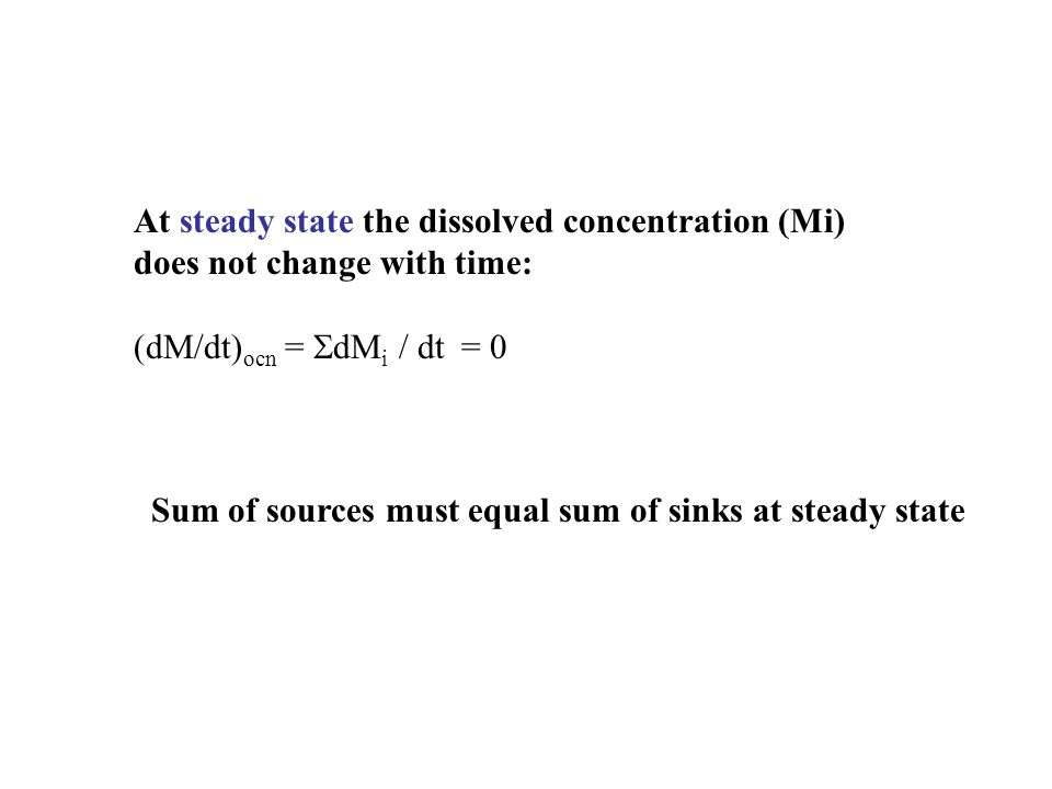 At steady state the dissolved concentration (Mi)