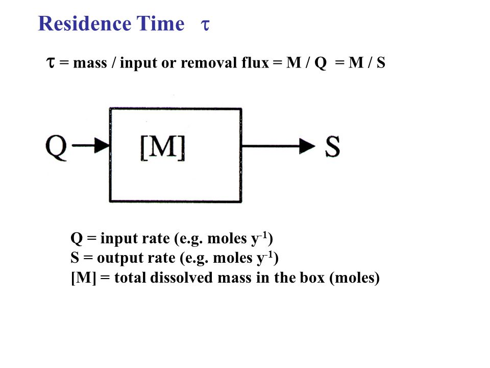  = mass / input or removal flux = M / Q = M / S