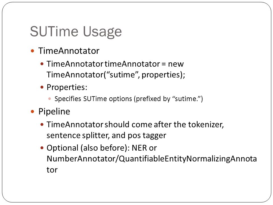 SUTime Usage TimeAnnotator Pipeline