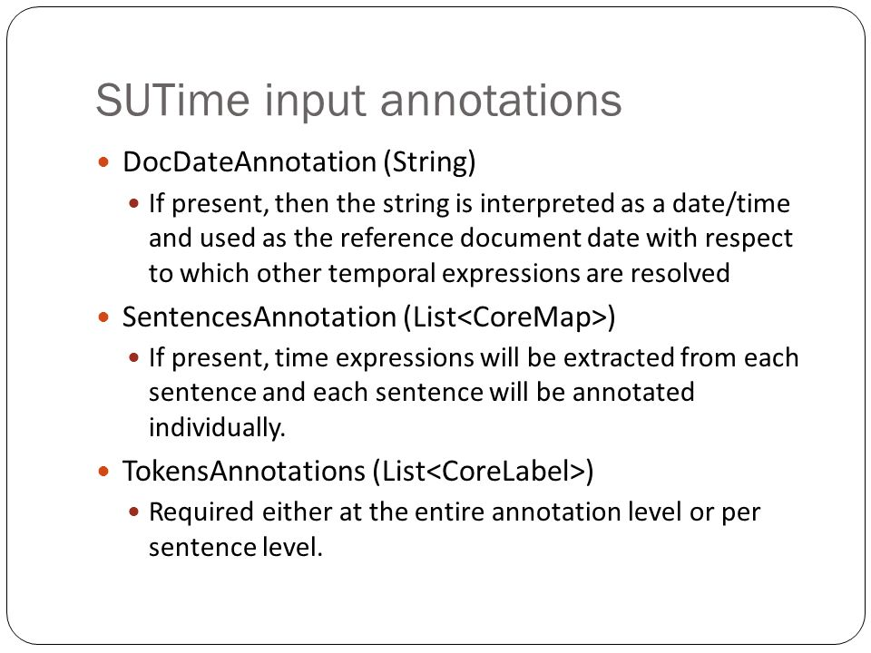SUTime input annotations