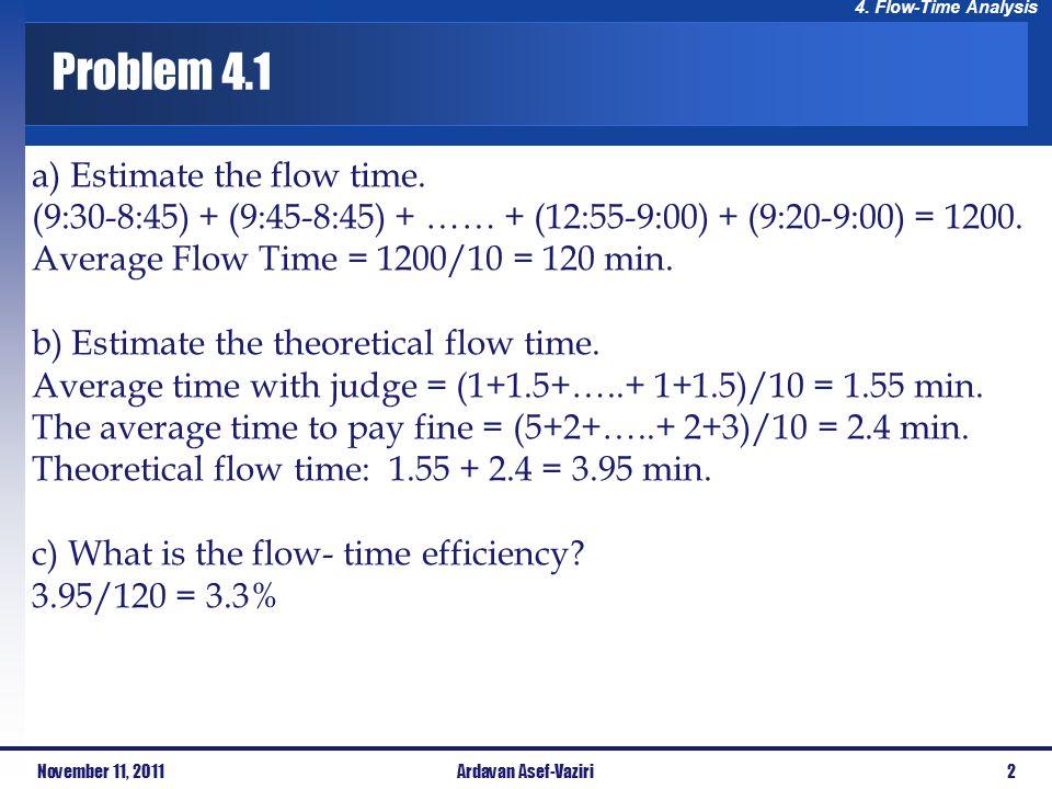 Problem 4.1 a) Estimate the flow time.