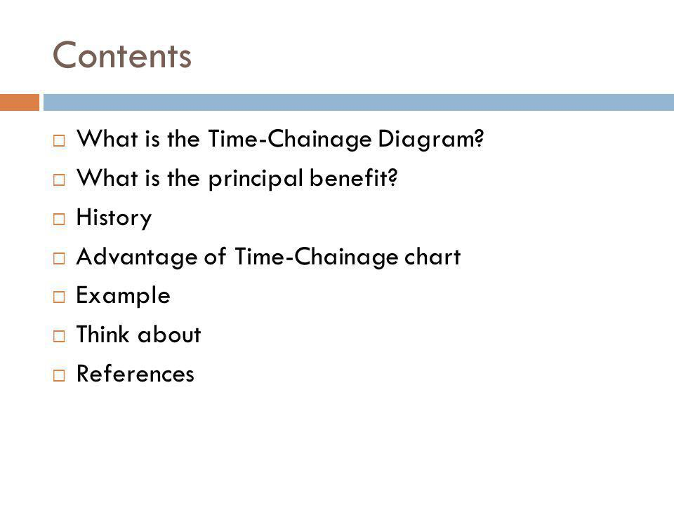 Contents What is the Time-Chainage Diagram