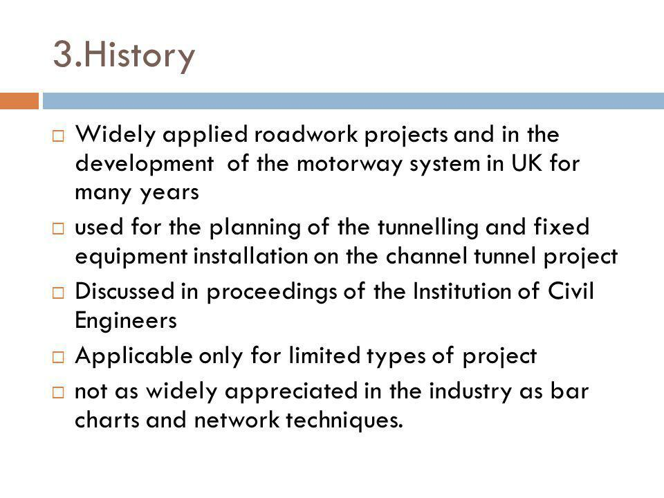 3.History Widely applied roadwork projects and in the development of the motorway system in UK for many years.