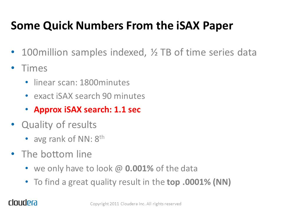 Some Quick Numbers From the iSAX Paper