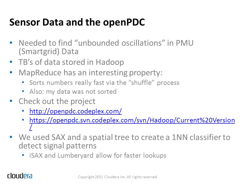 Sensor Data and the openPDC