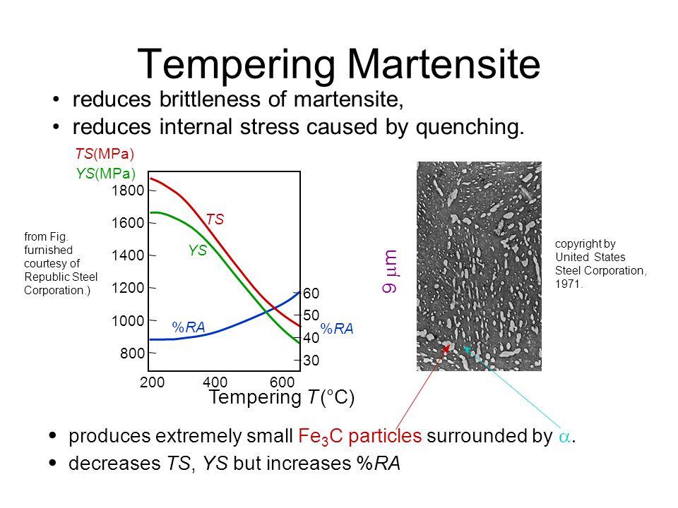 Tempering Martensite • • • reduces brittleness of martensite,