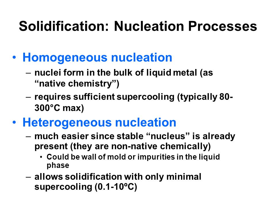 Solidification: Nucleation Processes