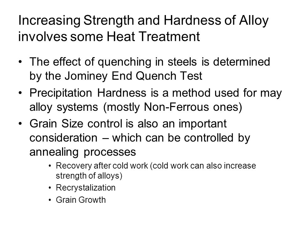 Increasing Strength and Hardness of Alloy involves some Heat Treatment