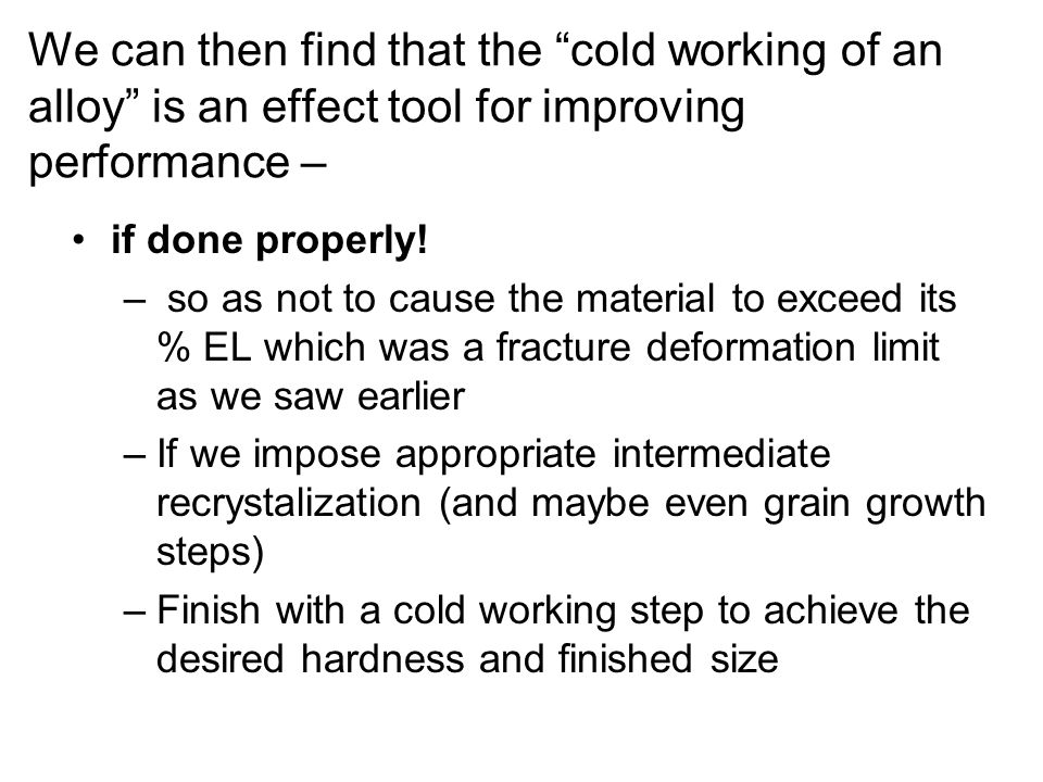 We can then find that the cold working of an alloy is an effect tool for improving performance –