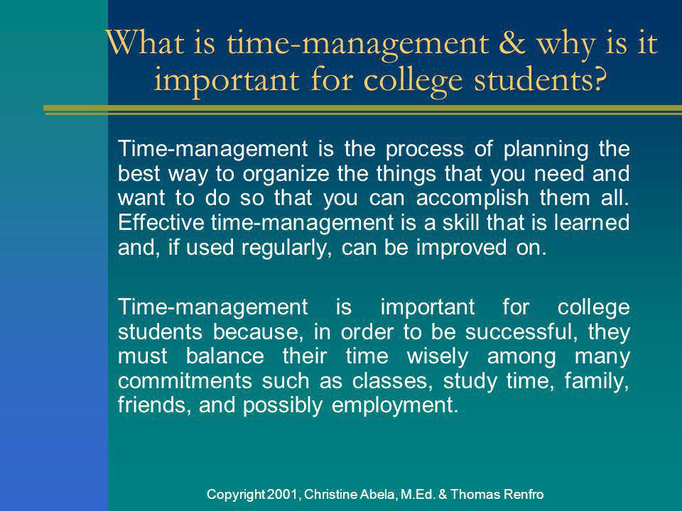 What is time-management & why is it important for college students