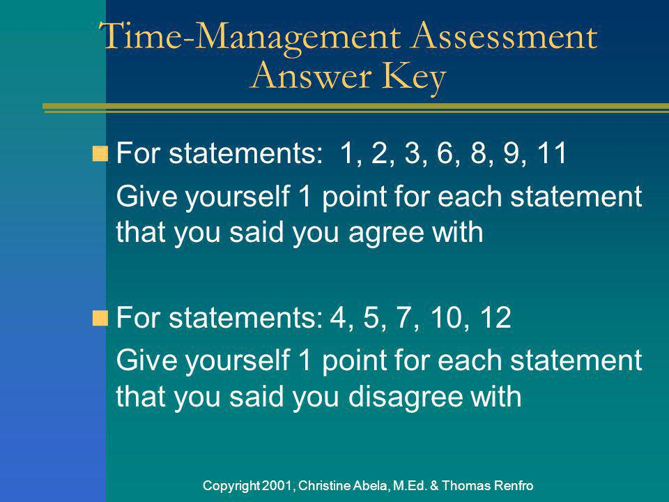 Time-Management Assessment Answer Key