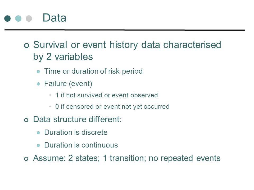 Data Survival or event history data characterised by 2 variables
