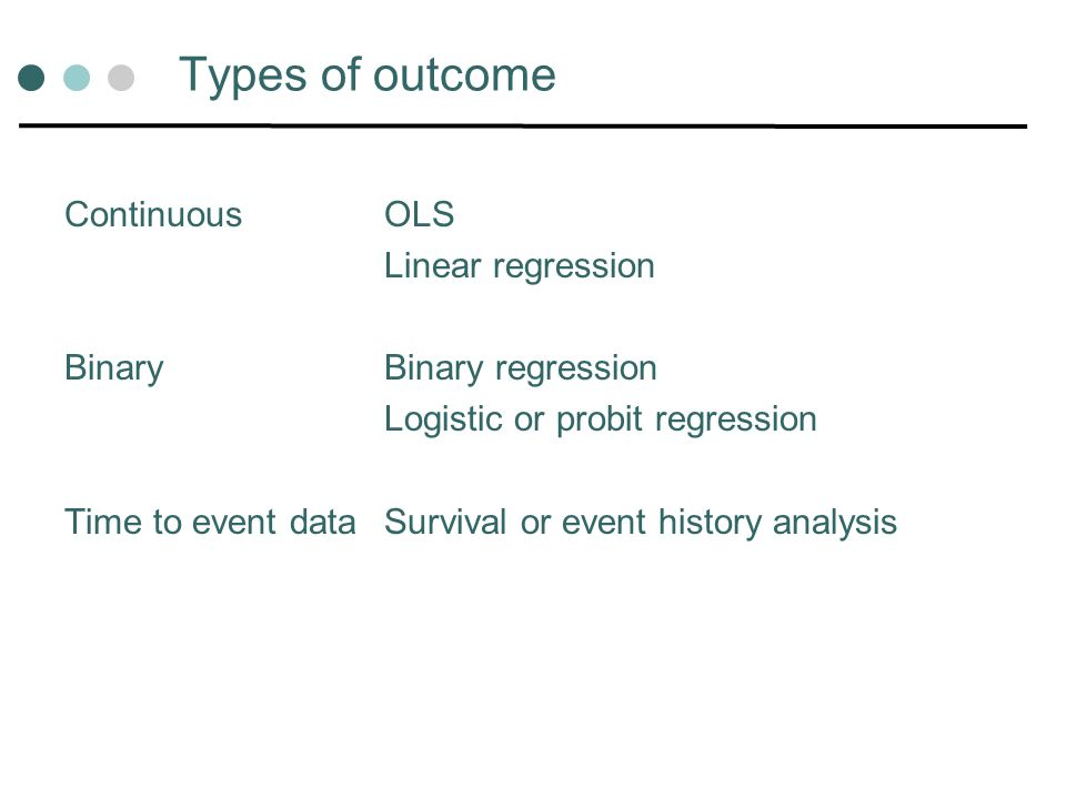 Types of outcome Continuous OLS Linear regression
