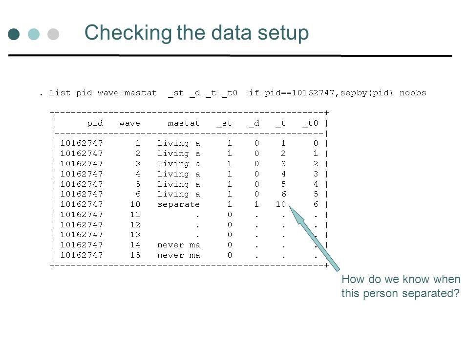 Checking the data setup