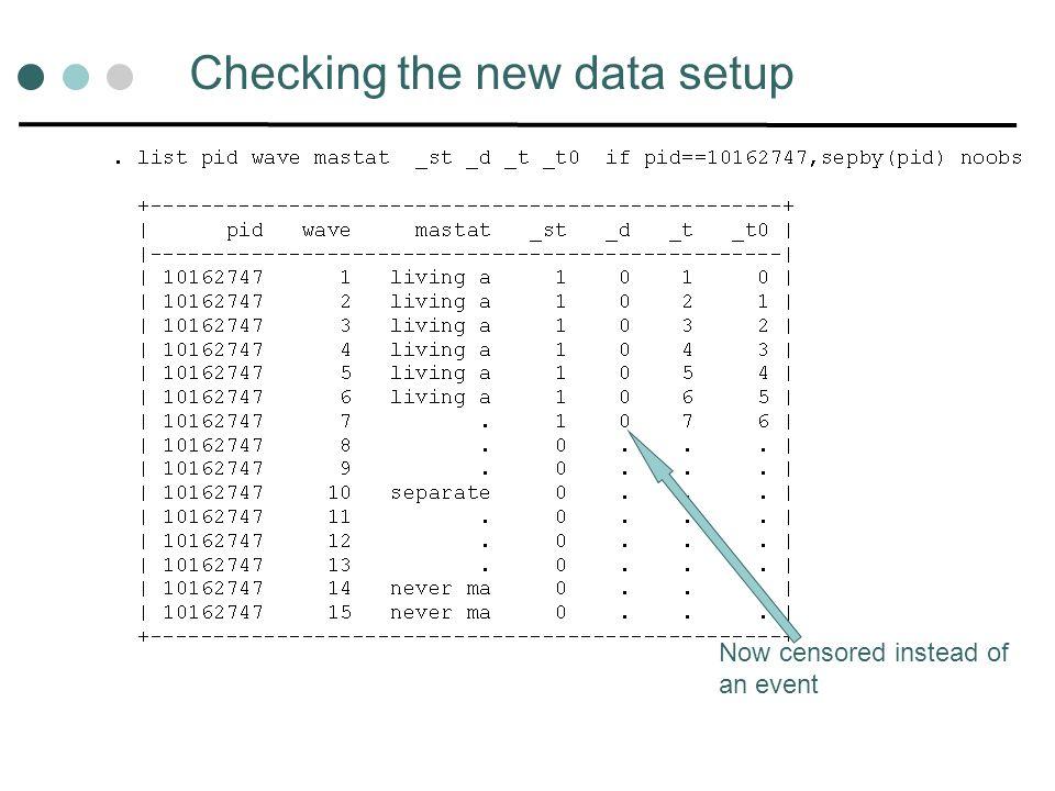 Checking the new data setup