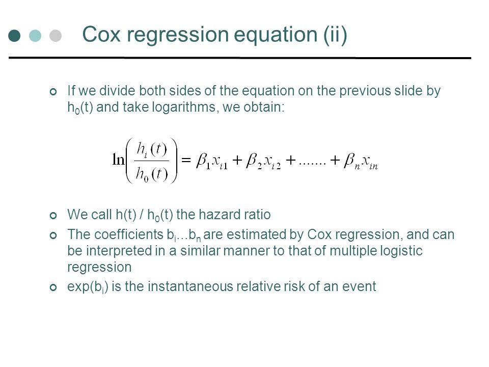 Cox regression equation (ii)