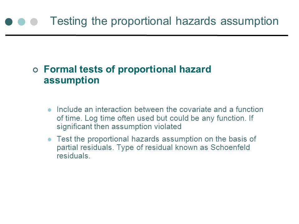 Testing the proportional hazards assumption