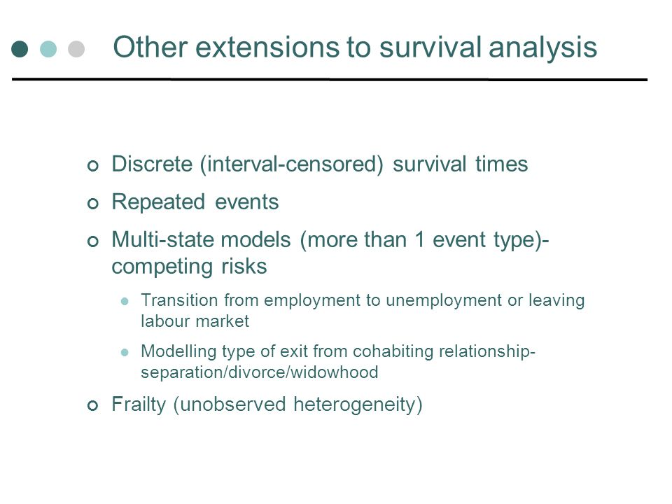 Other extensions to survival analysis