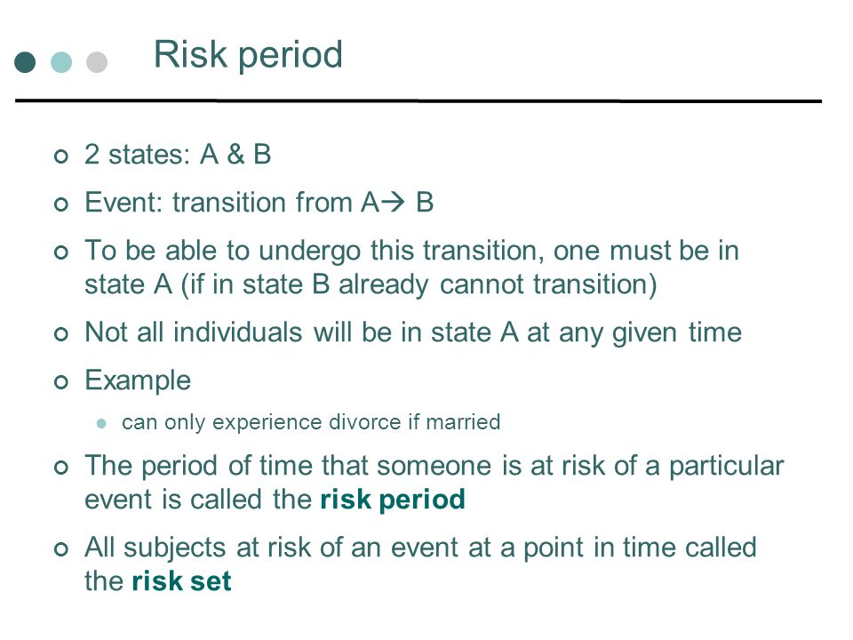 Risk period 2 states: A & B Event: transition from A B