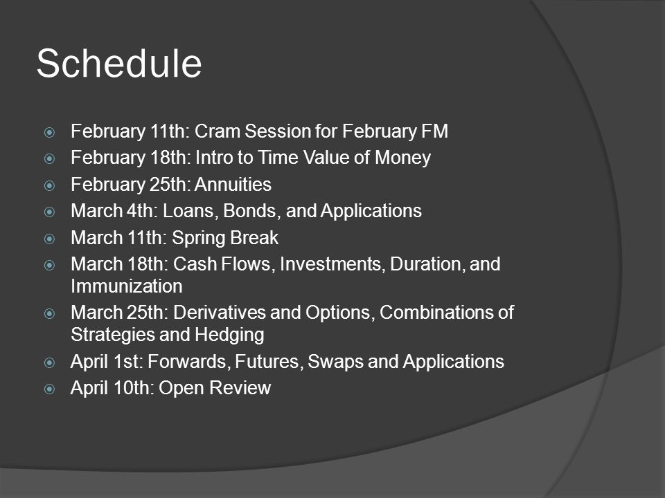Schedule February 11th: Cram Session for February FM