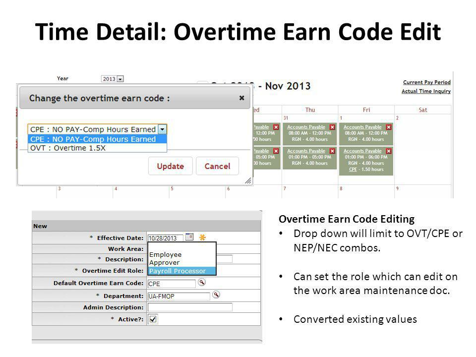 Time Detail: Overtime Earn Code Edit