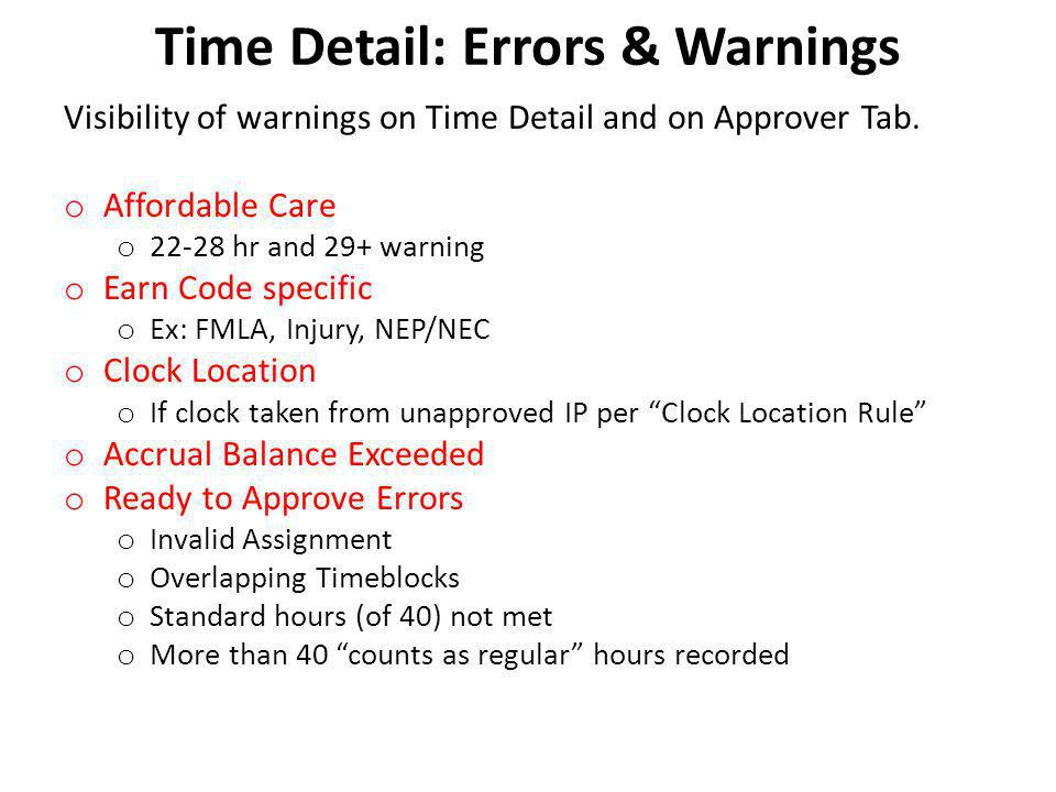 Time Detail: Errors & Warnings