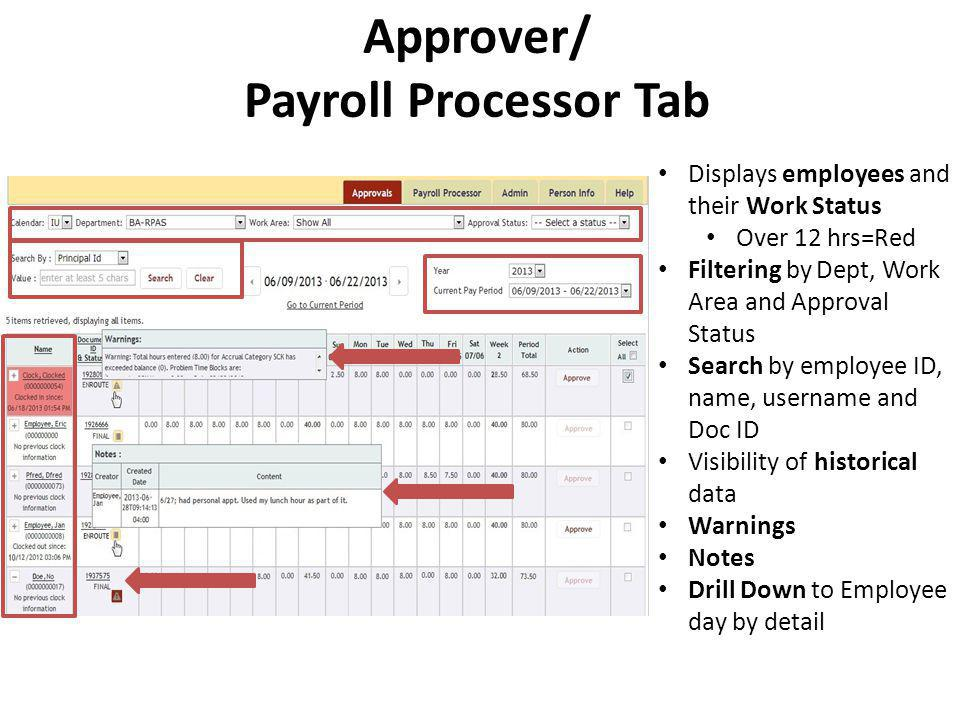 Approver/ Payroll Processor Tab