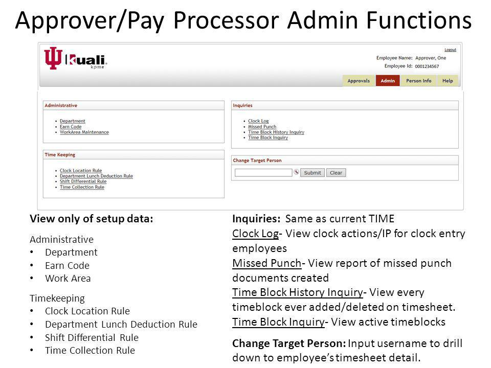 Approver/Pay Processor Admin Functions