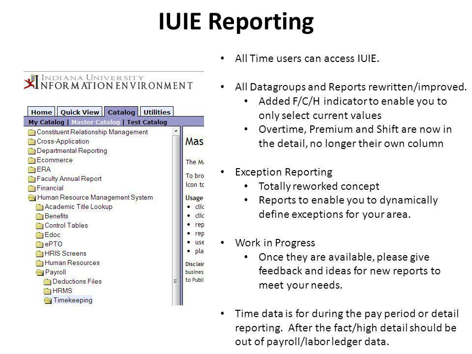 IUIE Reporting All Time users can access IUIE.