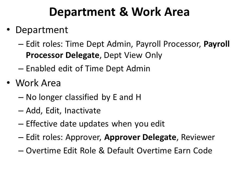 Department & Work Area Department Work Area