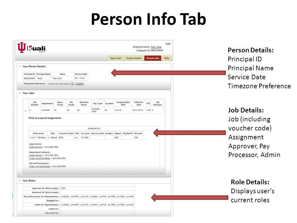 Person Info Tab Person Details: Principal ID Principal Name