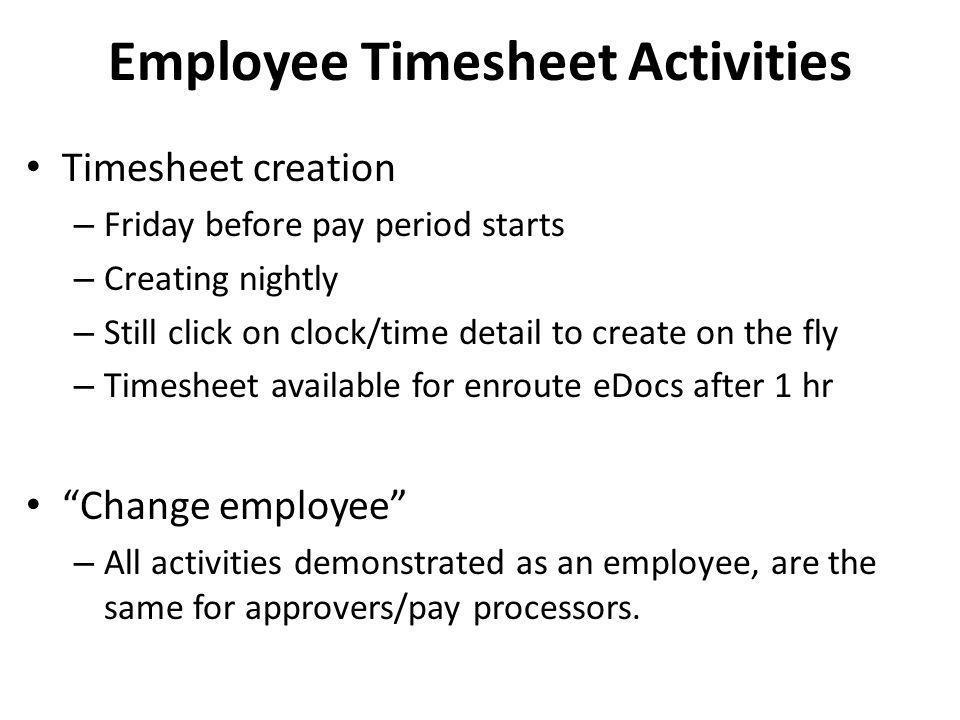 Employee Timesheet Activities