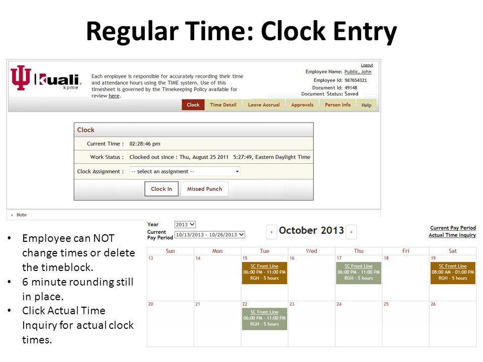 Regular Time: Clock Entry
