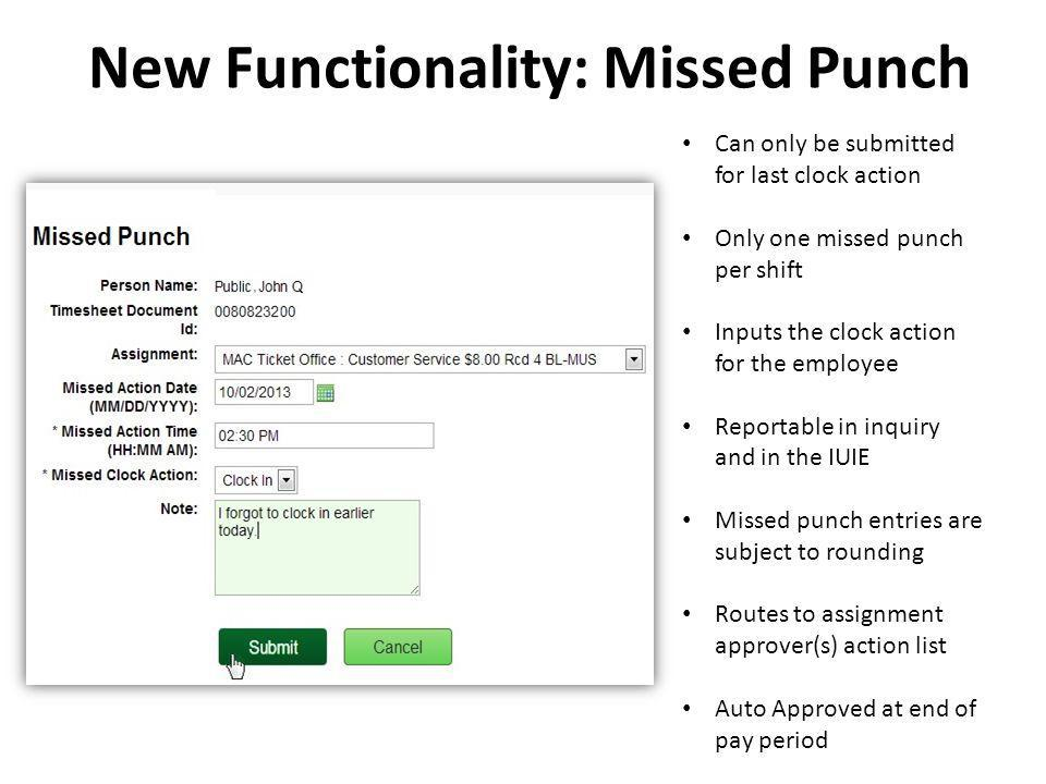 New Functionality: Missed Punch