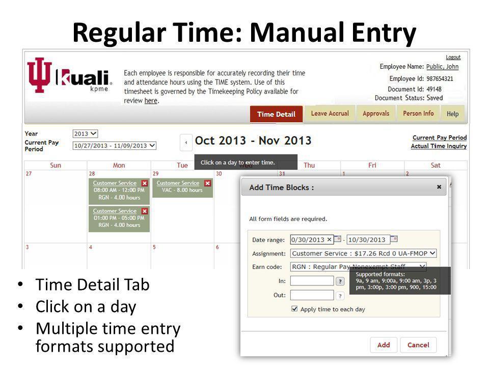 Regular Time: Manual Entry