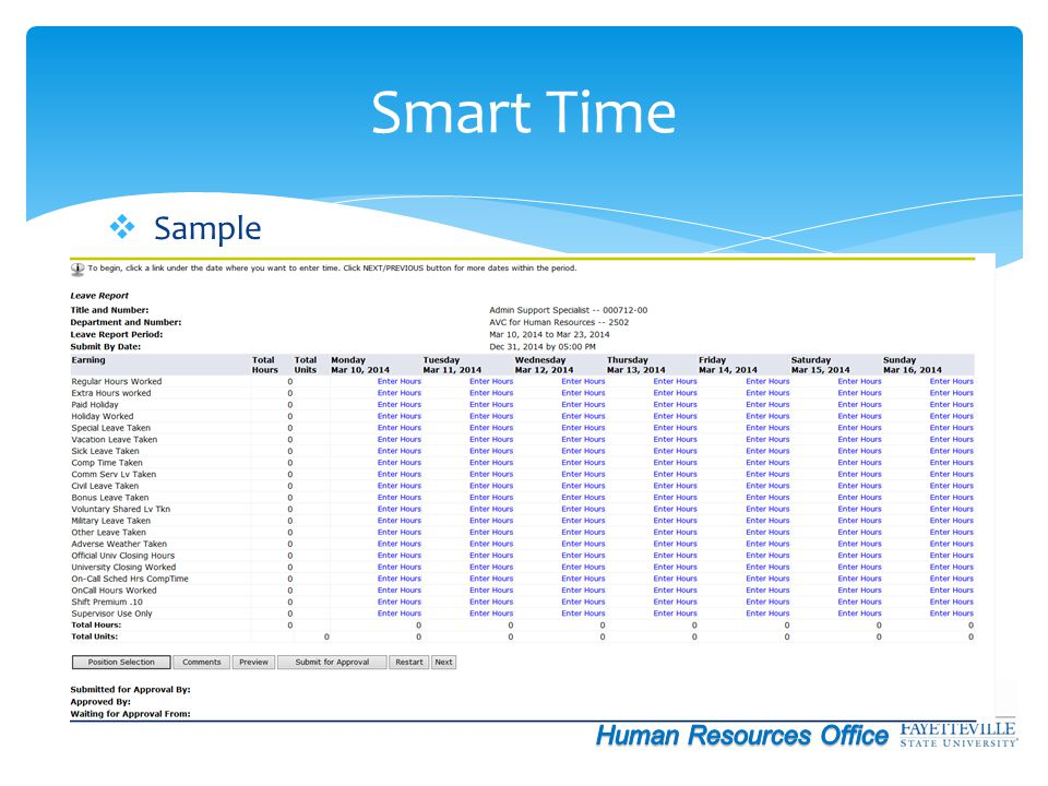 Smart Time Sample Human Resources Office