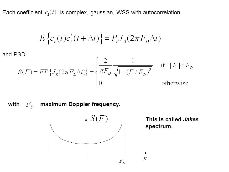 Each coefficient is complex, gaussian, WSS with autocorrelation